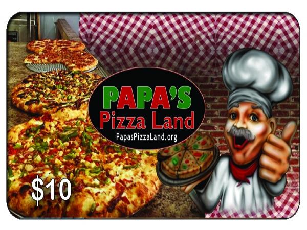 PAPAS PIZZA LAND Oshawa $10 Gift Card