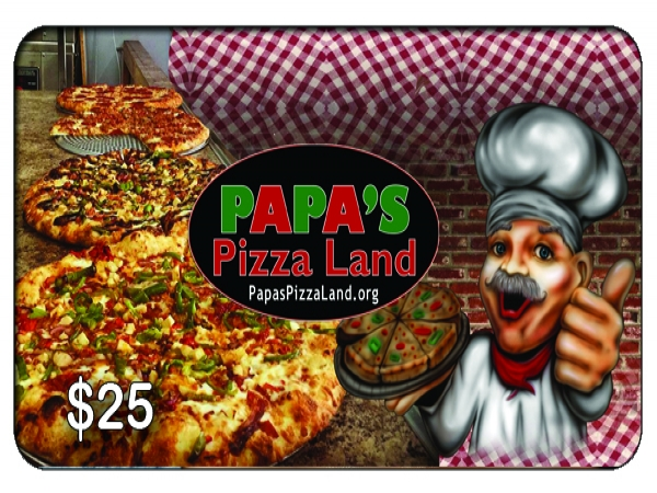 PAPAS PIZZA LAND Oshawa $25 Gift Card